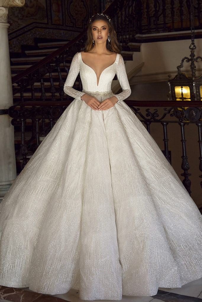 Ball gown beaded wedding gown