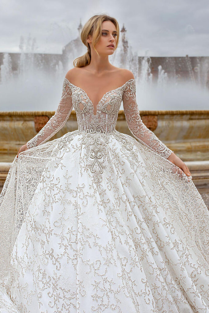 Ball gown off shoulder lacy wedding dress